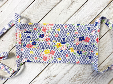 Face Mask - Denim Blue Floral