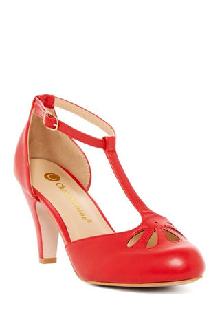 Lila T-Strap Shoe - Red