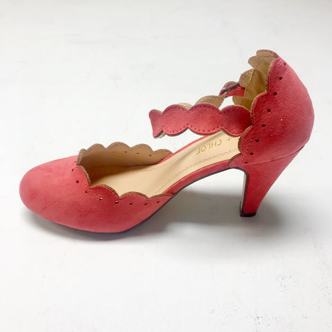 Lara Scalloped Vintage Shoe - Coral