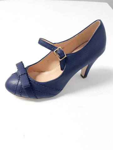 Gabby Vintage Shoe with Bow - Navy