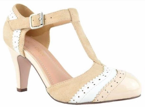 Maggie Vintage Shoe - Nude/White