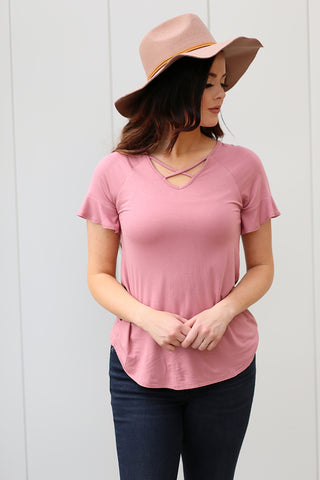 Criss Cross Top - Mauve