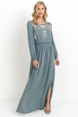 Lori Embroidered Maxi Dress - Teal