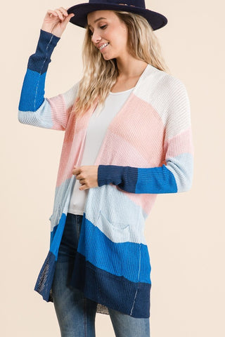 Blue & Pink Striped Cardigan