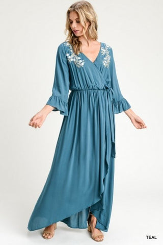 Melody Embroidered Maxi Dress - Dark Teal