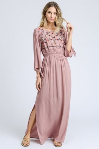 Jordyn Embroidered Maxi Dress - Dusty Pink