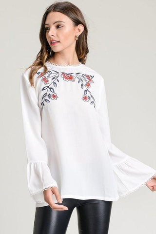 Faith Floral Embroidered Top