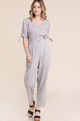 Lexi Polka Dot Jump Suit - Gray