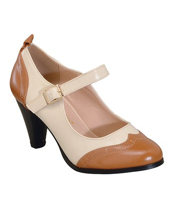 Dina Vintage Shoe - Tan/Cream