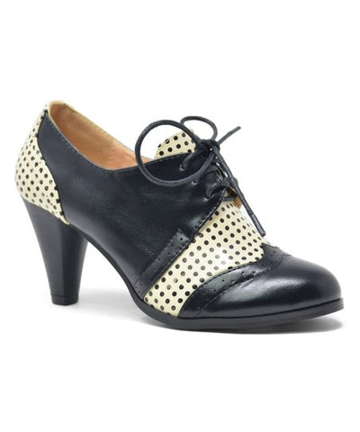 Shay Vintage Shoe - Black Polka Dot