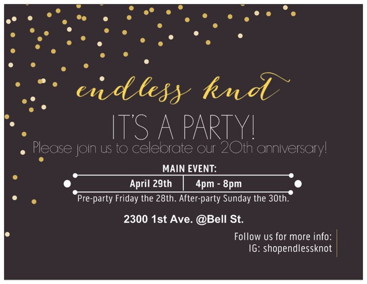 Endless Knot CELEBRATES 20 years in Belltown! Party with us!