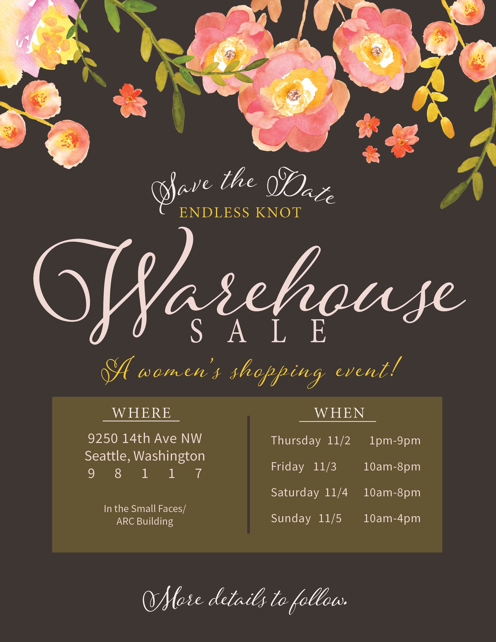 warehouse sale save the date endless knot
