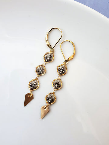 3 Circle Gold Drop Earring