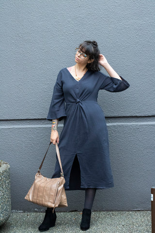 V Neck Twist Front Dress