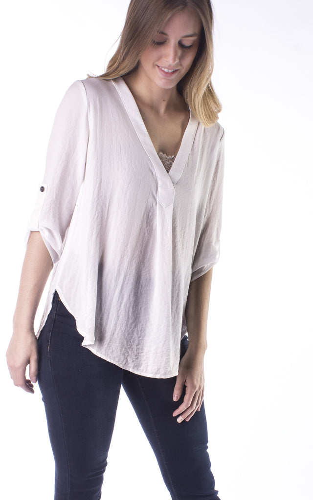 Three Quarter Sleeve Woven Top