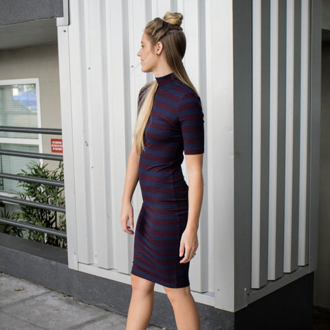 Mock Neck Pencil Dress