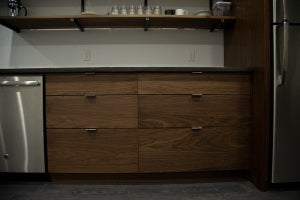 Walnut Kitchen with steel and concrete, Boston, MA
