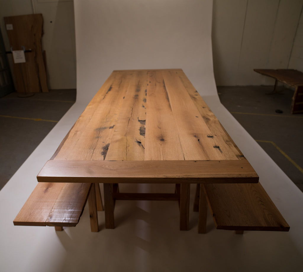 Reclaimed Oak Dining Table with Benches