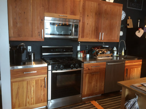 Reclaimed long leaf yellow pine kitchen