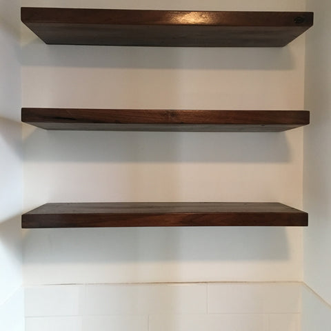 Floating Walnut shelves
