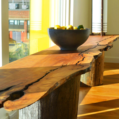 Live Edge Side Table, Black Birch