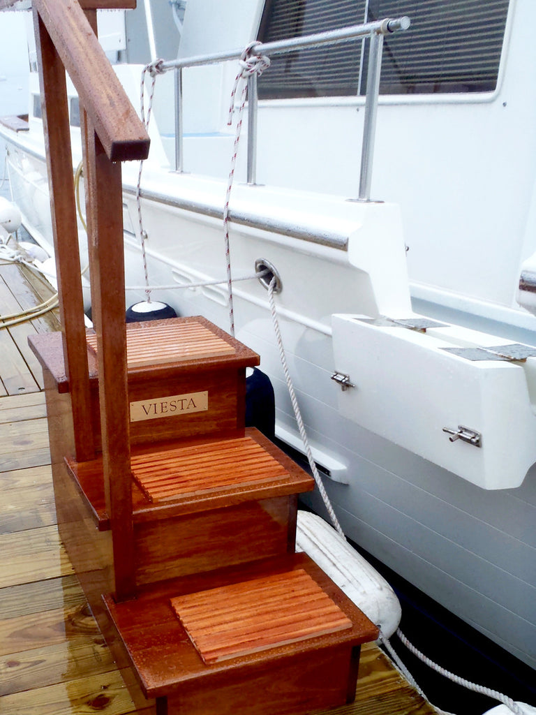 Dovetail Yacht Steps, Mahogany, 3 Step with Handrail