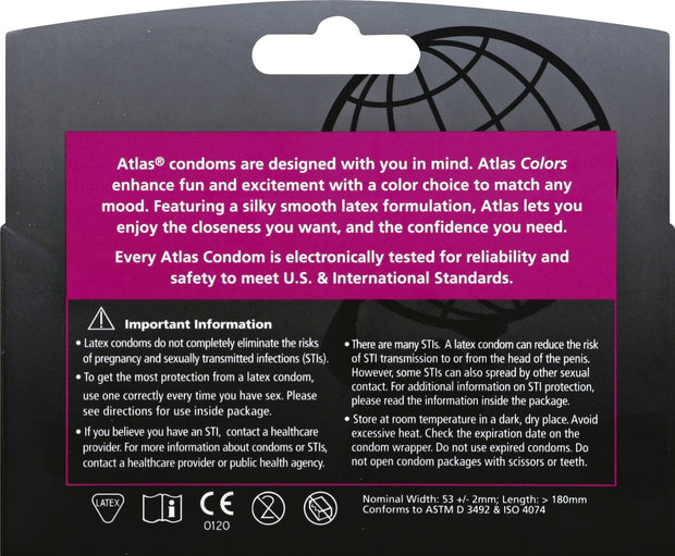 Atlas Color Condoms, Case of 48