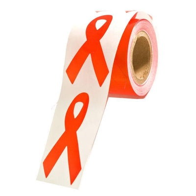 Red Ribbon Stickers, Roll of 100