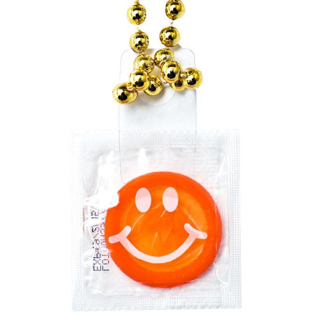 Condom Throw Beads - Smiley, Box of 36
