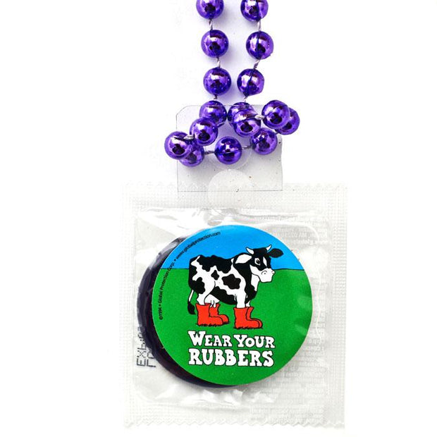 Condom Throw Beads - Wear Your Rubbers, Box of 36