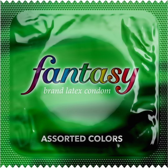 Fantasy Assorted Colors Lubricated Condoms,  Case of 1000