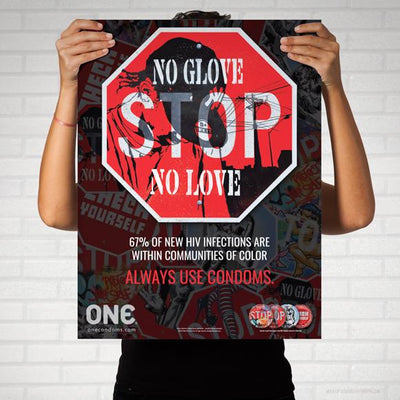 "ONE® Street Art Collection Poster, ""NO GLOVE, NO LOVE"""