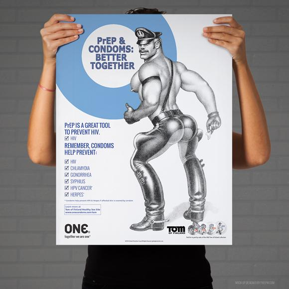 "ONE® Tom of Finland Collection Poster, ""PrEP + Condoms = Better Together"""