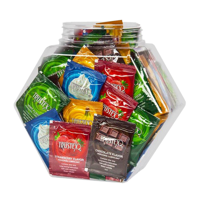 Trustex® Assorted Flavors 6ml Foil Packs,  Bowl of 144