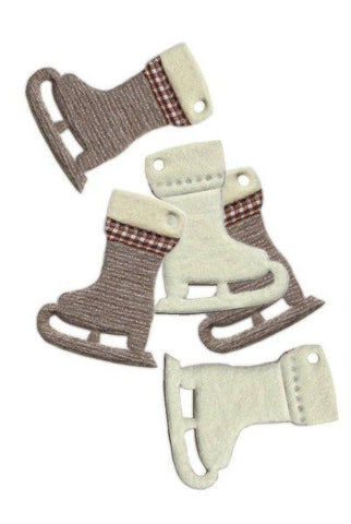 Wool Ice Skates Hang Tags, 2 Tags, Taupe,Cream