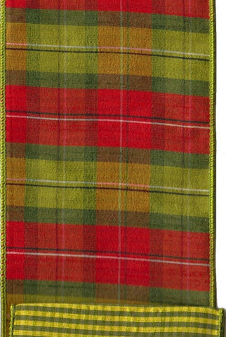 Faux Dupion Plaid With Green Check Back, Apple Green