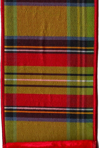 Faux Dupioni Mcfarland Plaid With  Red Velvet Back, Lime,Red,Black,Blue