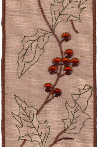 Jute Linen Embroidered Leaf Vine Copper Berry Jewels, Natural
