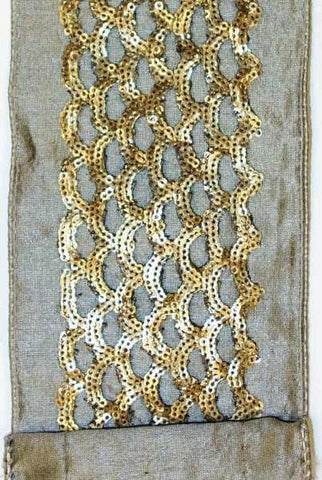 Dupion Cut Out Sequin Trim, Bronze/Platinum