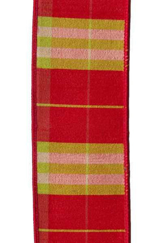 Dupion Plaid, Red/Green/Cream