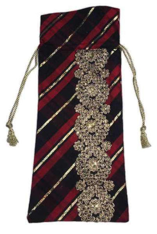 Highland Plaid Wine Bag With Gold Trim Red Black Gold