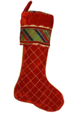 Quilted Velvet With Mcfarland Plaid Stocking Cut On The Bias And Red Gold Edging Cuff Red Gold