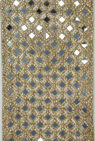 Gold,Embroidery,Jeweled,Harlequin,Mirror,Jeweled,Runner,Gold