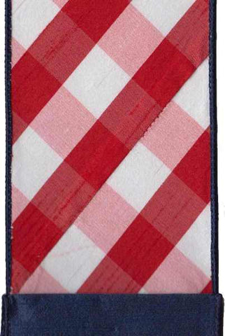 Faux Dupion Diagonal Check Navy Blue Back Red White