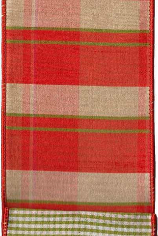 Faux Dupion Plaid Micro Check Back Orange Cream Green