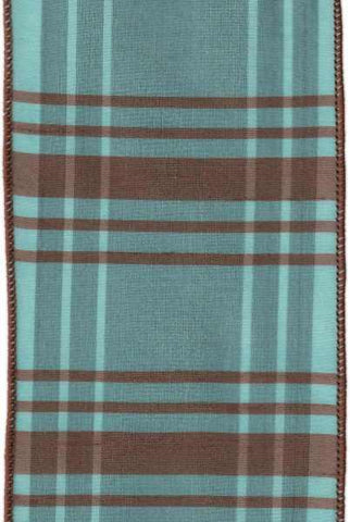 4 Inch x 10 Yards faux dupion plaid, brown/teal