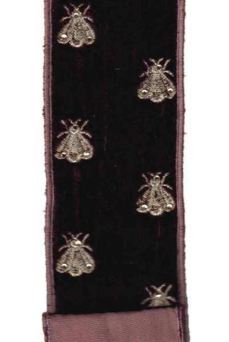 2.5 Inch X 5Yds Velvet Embroidery Bees With Moss Rose Taffeta Back Cinnabar