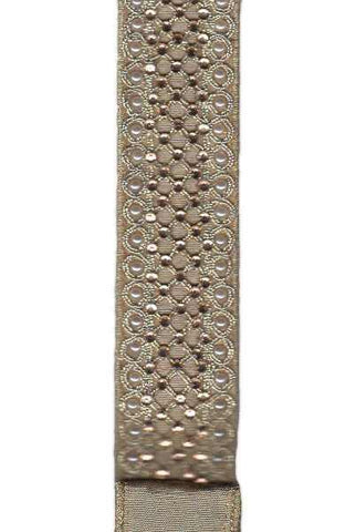 1.5 Inch X 5Yds Metallic Dupion With Pearl-Gold Crystal Trellis Trim  Gold