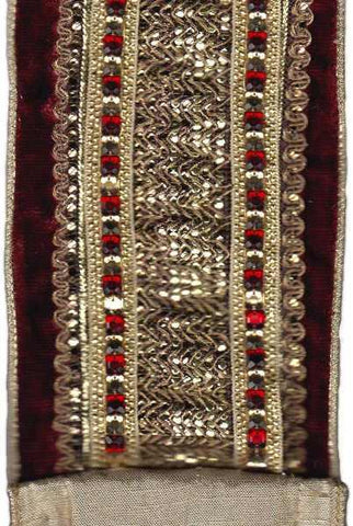 4 Inch X 5Yds Velvet With Ruby Crystal Mesh Center Trim Ruby