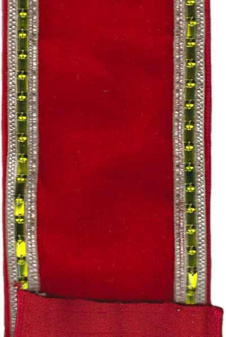4 Inch X 5Yds Velvet With Green Baguette Stones Hot Red
